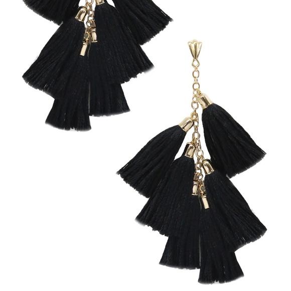 Ettika Daydreamer Tassel Earrings in Black & Gold